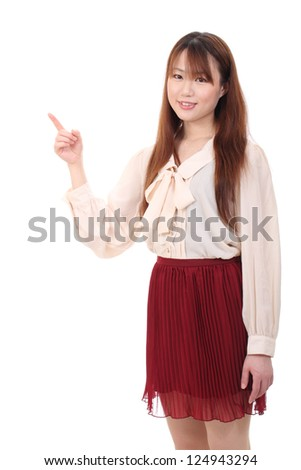 Young asian woman rise hand and pointing isolated on white background - stock photo