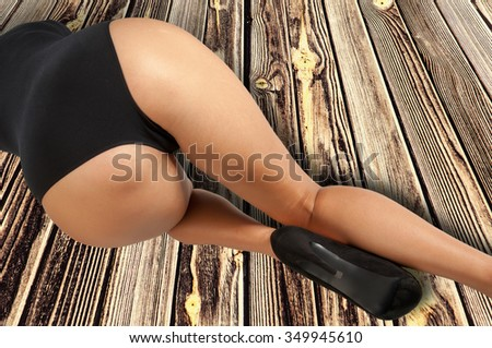 Young asian woman sexy ass in thong on white background. ass, asshole, arsehole, fanny, clod, awkward.  XXX - stock photo