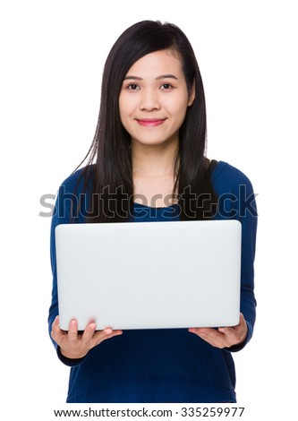 Young asian woman use of the notebook computer