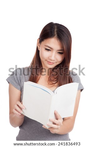 Young Asian woman with a book  isolated on white background