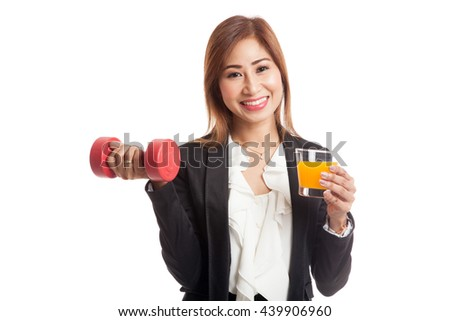 Young Asian woman with dumbbell drink orange juice  isolated on white background - stock photo