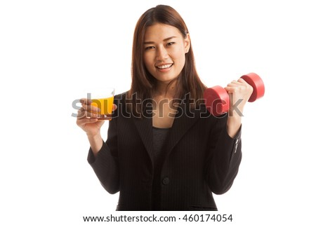 Young Asian woman with dumbbell drink orange juice  isolated on white background. - stock photo