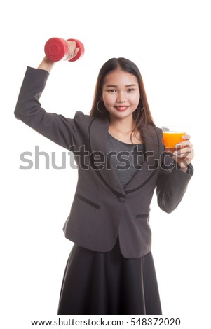 Young Asian woman with dumbbell drink orange juice  isolated on white background.