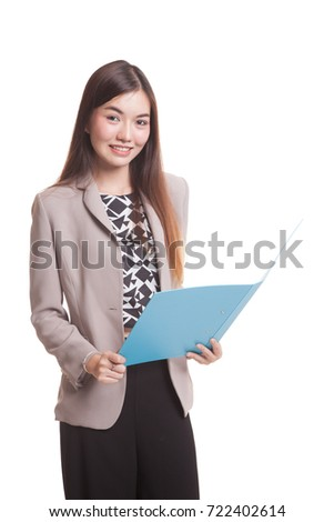 Young Asian woman with folder isolated on white background