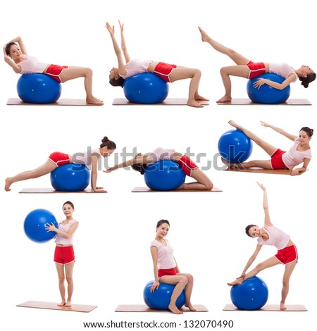 Young asian woman with gym ball isolated on white - stock photo
