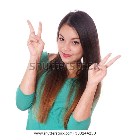 young asian woman with scars from deliberate self-harm making victory hand sign - stock photo