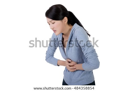 young asian woman with stomach pain