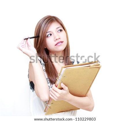 Young Asian Woman writing diary or thinking on white background