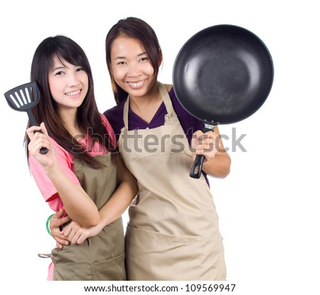 Young asian women housewife are hugging on white background