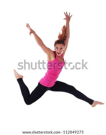 Young athletic woman run in air isolated