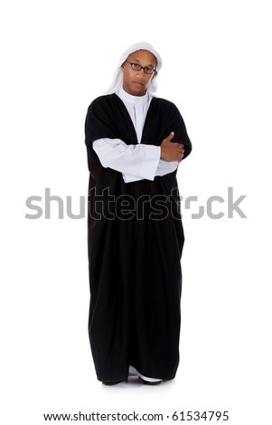 Young attractive African American man in sheikh posture dressed in arab garb, crossed arms. Studio shot . White background - stock photo
