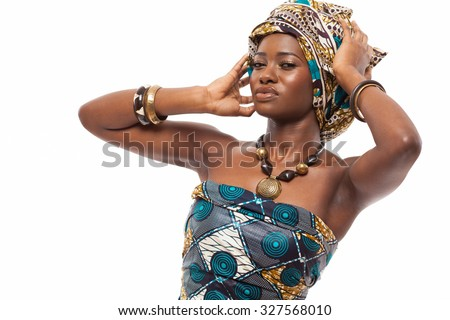 Young attractive African model in traditional dress. - stock photo