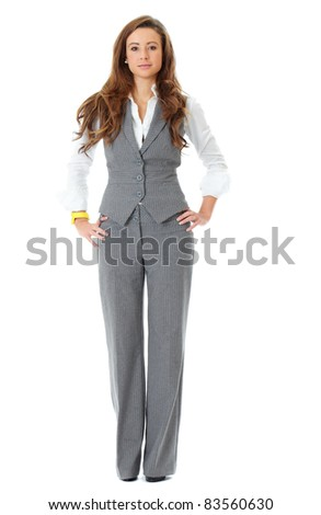Young attractive and confident business woman, full pose shoot, isolated on white - stock photo