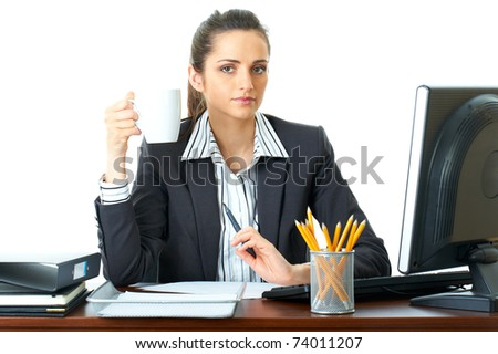 young attractive and pretty office worker have coffee break, isolated on white - stock photo