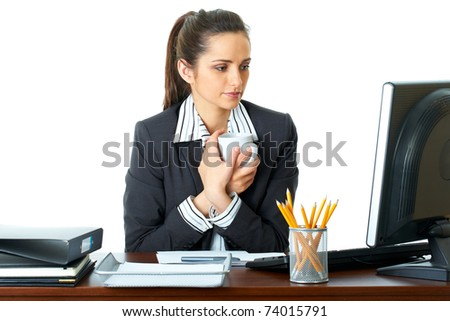 young attractive and pretty office worker have coffee break, isolated on white