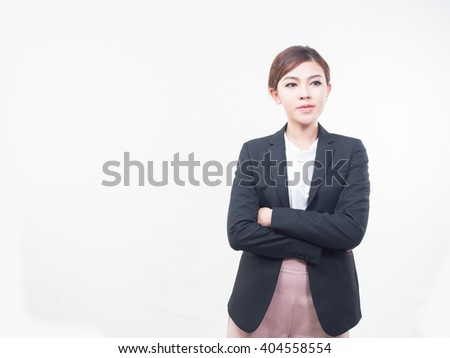 Young attractive Asian business woman on white background. - stock photo