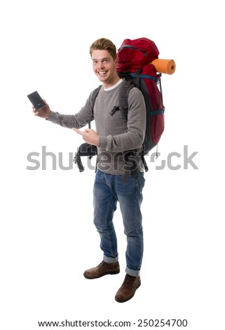 young attractive  backpacker tourist holding passport carrying backpack ready for travel and adventure on vacations and holidays isolated on white background - stock photo