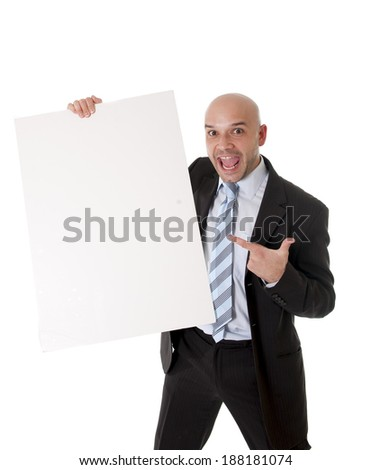 young attractive bald business man wearing suit and necktie holding blank white advertisement sign or billboard for adding message text as copy space isolated on white background