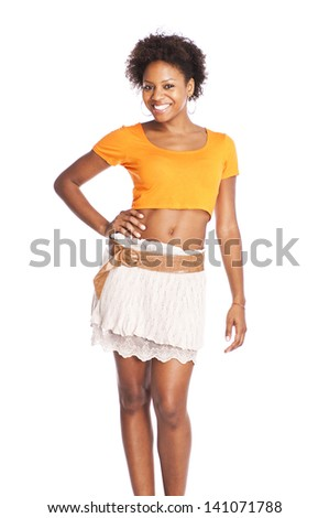 young attractive black woman posing  - stock photo