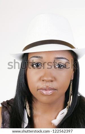 Young Attractive Black Woman White Hat Portrait