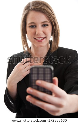 Young attractive blond caucasian businesswoman - stock photo