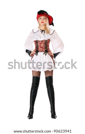 Young attractive blonde dressed as pirates. Isolated - stock photo