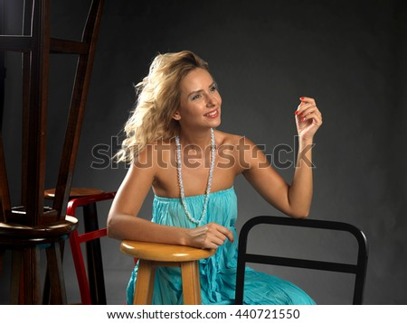 young attractive blonde girl posing - stock photo