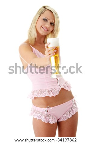 Young attractive blonde in sexy lingerie holding a beer - stock photo