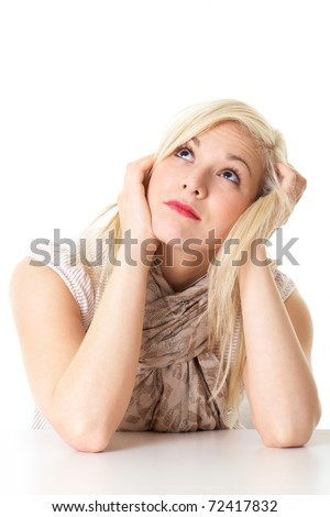 young attractive bored blonde female isolated on white - stock photo