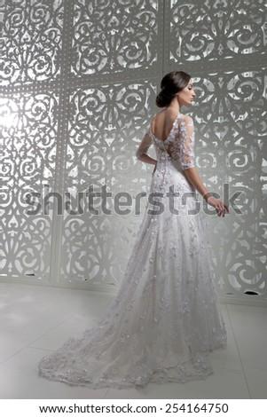 Young attractive bride. Portrait of beautiful bride. Wedding dress. Wedding decoration - stock photo