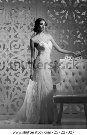 Young attractive bride. Portrait of beautiful bride. Wedding dress. Wedding decoration