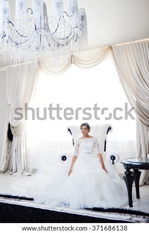 Young attractive bride. Portrait of beautiful bride. Wedding dress. Wedding decoration - stock photo