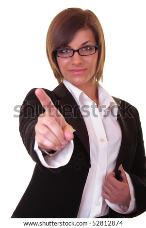 young attractive brunette businesswoman pointing on white