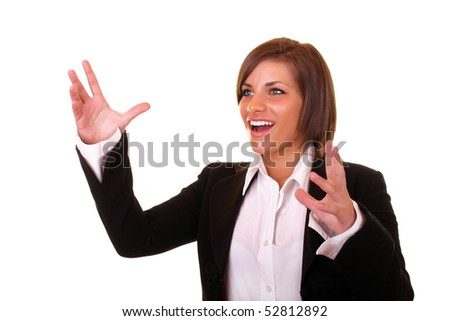 young attractive brunette businesswoman with hands up