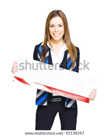Young Attractive Brunette Sales Woman Holding Blank Empty Retail Sign In A Announcement Communication And Business Presentation, On White Background
