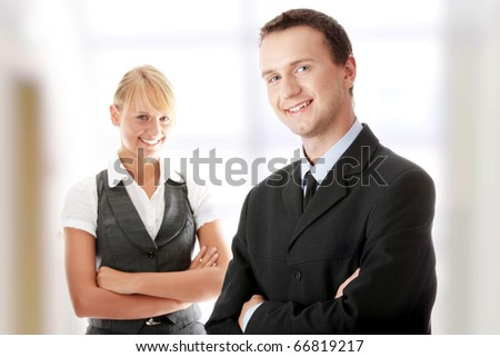 Young attractive business people - stock photo