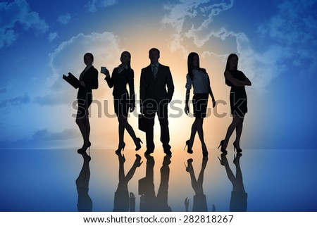 Young attractive business people with four women looking at camera on abstract background