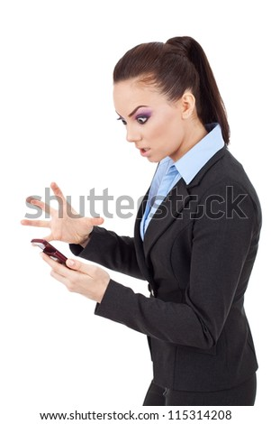 young attractive business woman angry on her phone on white background - stock photo