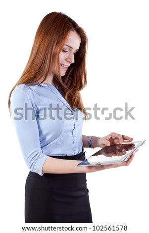 young attractive business woman holding a tablet pc - stock photo