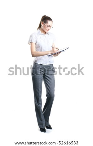 Young attractive business woman isolated over white background