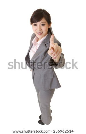 Young attractive business woman  of Asian pressing, full length portrait on white. - stock photo