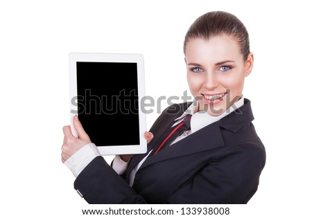 Young attractive business woman showing touchpad where you can place your text.  Isolated on white background - stock photo