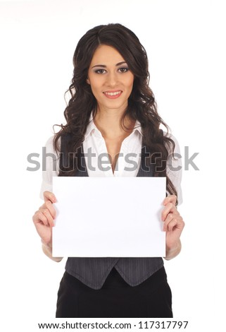 Young attractive business woman with a blank sheet of paper isolated on white
