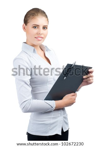 Young attractive business woman with clipboard, isolated on white background - stock photo