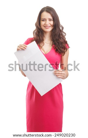 Young attractive business woman with documents, isolated on white background