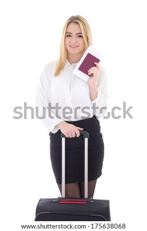 young attractive business woman with suitcase, passport and ticket isolated on white background - stock photo