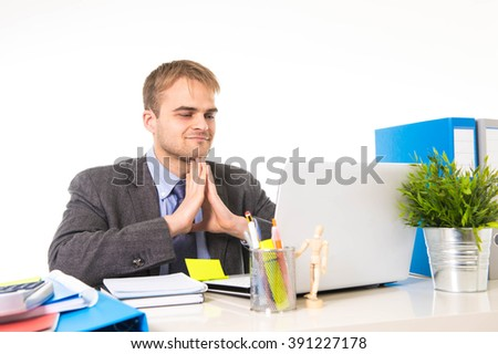 young attractive businessman working busy with laptop computer at office desk smiling and looking satisfied in business project success concept isolated on white background - stock photo