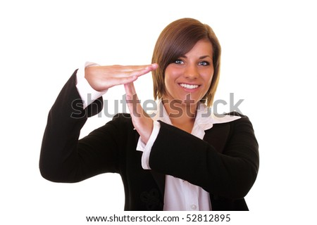 young attractive businesswoman showing time out - stock photo