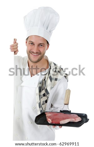 Young attractive chef caucasian male with hat and white uniform showing a grill with a tender t-bone steak. Studio shot. White background. - stock photo