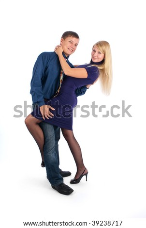 Young attractive couple dancing